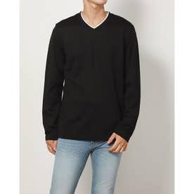 フェイクレイヤード長袖Tシャツ (ブラック)