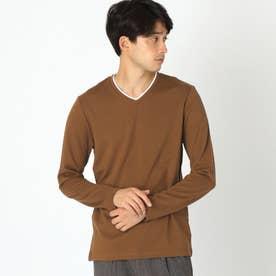 フェイクレイヤード長袖Tシャツ (ブラウン)
