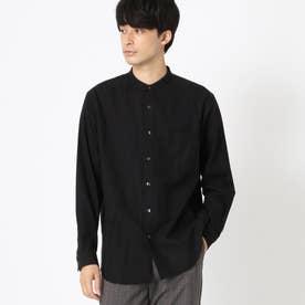 バンドカラー ネルシャツ (ブラック)