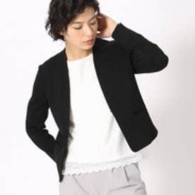 《UVカット/ウォッシャブル》 ジャージー ノーカラー ジャケット 日本素材(ブラック)