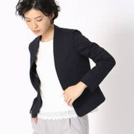 《UVカット/ウォッシャブル》 ジャージー ノーカラー ジャケット 日本素材 (ネイビー)