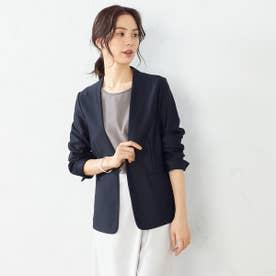 ノーカラー ジャージージャケット <日本素材 ウォッシャブル 吸水速乾 ストレッチ> (ネイビー)