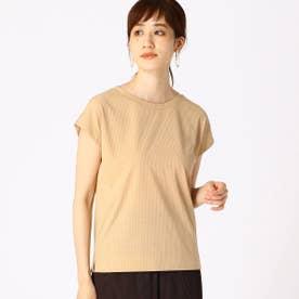 テレコ フレンチスリーブTシャツ (キャメル)
