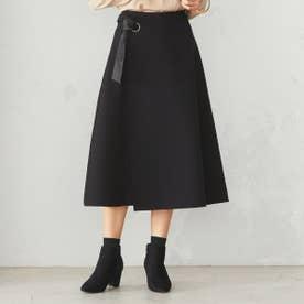 ラップ風 フレアスカート (ブラック)