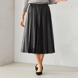 フェイクレザー プリーツスカート (ブラック)