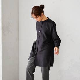 バンドカラー ロングシャツ (ブラック)