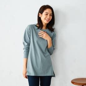 ビッグシルエット ロングTシャツ (ブルー)