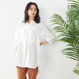 <ノルマンディーリネン> バンドカラーシャツ (ホワイト)