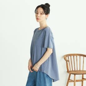 <オーガニックコットン> バッグフレアTシャツ (ブルー)