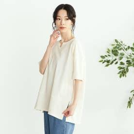 鹿の子 キーネックTシャツ (アイボリー)