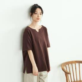 鹿の子 キーネックTシャツ (ブラウン)