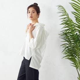 フード付き 五分袖シャツ (ホワイト)
