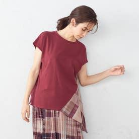 モザイクチェックプリントドッキングTシャツ (ボルド系チェック)