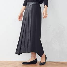 アシンメトリー プリーツスカート (ブラック)