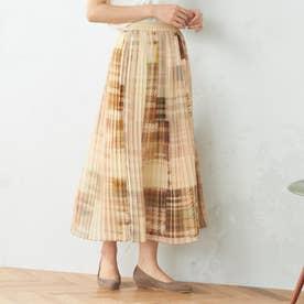 モザイクチェックプリントプリーツスカート (グレージュ×マスタード)