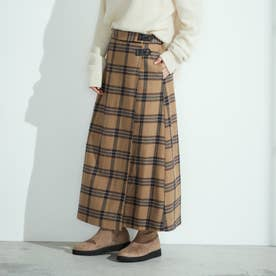 チェック柄 ロングスカート (キャメル)
