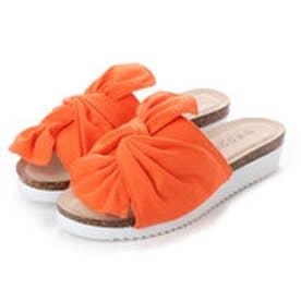 結びリボンコンフォートミュールサンダル (オレンジ)