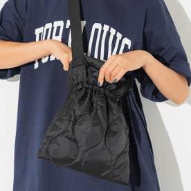 キルティング巾着ショルダーバッグ (Black)