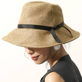 ソフトハット レディース ワイヤー入り UV対策 折りたたみ 細リボン ツバ広 帽子 キャペリンハット 20ss (Black)