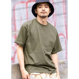 シルキーコットン胸ポケットTシャツ (Khaki)
