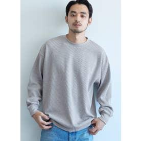 ミニワッフルクルーネックロングTシャツ (Gray)