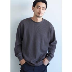 ミニワッフルクルーネックロングTシャツ (Charcoal)