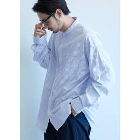 バンドカラールーズシルエットストライプシャツ (Blue)
