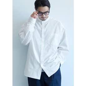 バンドカラールーズシルエット長袖シャツ (White)