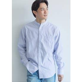 バンドカラーレギュラーフィットストライプシャツ (Blue)