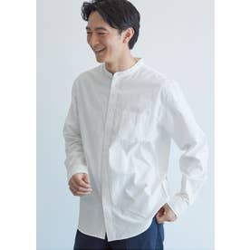 バンドカラーレギュラーフィット長袖シャツ (White)