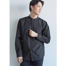 バンドカラーレギュラーフィット長袖シャツ (Black)