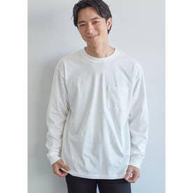 シルキーコットン胸ポケットロングTシャツ (White)