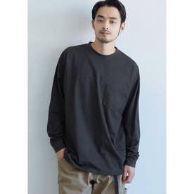 シルキーコットン胸ポケットロングTシャツ (Black)