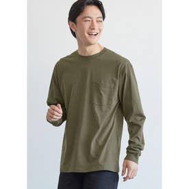 シルキーコットン胸ポケットロングTシャツ (Khaki)
