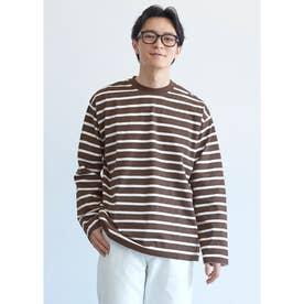 クルーネックボーダーロングTシャツ (Brown)