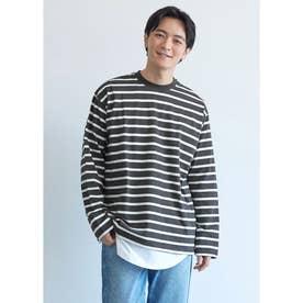 クルーネックボーダーロングTシャツ (Black)