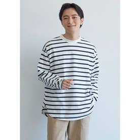 テールカットボーダーロングTシャツ (White)