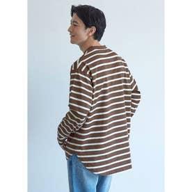 テールカットボーダーロングTシャツ (Brown)