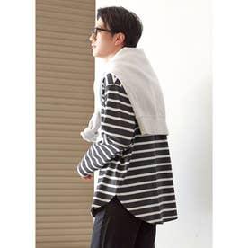 テールカットボーダーロングTシャツ (Black)