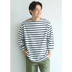 ボートネックボーダーロングTシャツ (White)