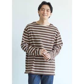 ボートネックボーダーロングTシャツ (Brown)