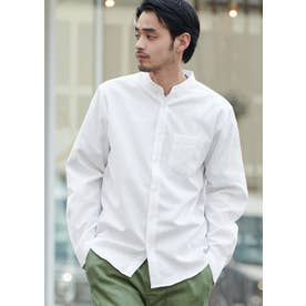 バンドカラーレギュラーフィットオックスシャツ (White)