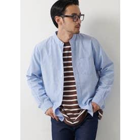 バンドカラーレギュラーフィットオックスシャツ (Blue)