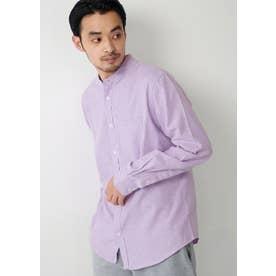 バンドカラーレギュラーフィットオックスシャツ (Purple)