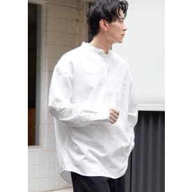 バンドカラープルオーバーシャツ (White)