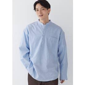 バンドカラープルオーバーシャツ (Blue)