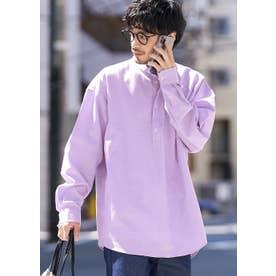 バンドカラープルオーバーシャツ (Purple)