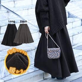 毛布のような肌触り裏起毛フレアロングスカートcocaオリジナル (Black)