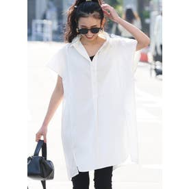 オーバーサイズ半袖シャツワンピースcocaオリジナル (White)