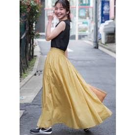 やわらかしわ感コットンフレアロングスカート (Yellow)
